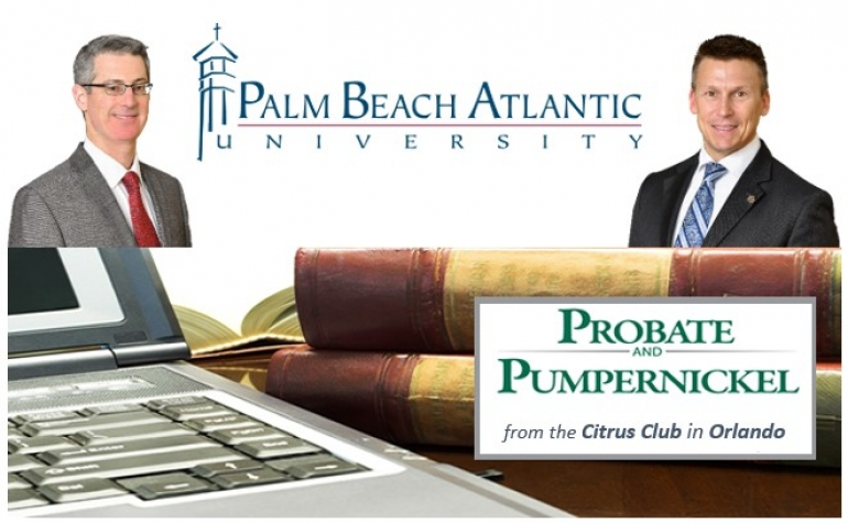 "Gary and Eric present their seminar ""The Pitfalls of Fraudulent Transfers in Estate Planning and Asset Protection"" at the Probate and Pumpernickel, a forum for attorneys & CPAs, produced by Palm Beach Atlantic University at the Citrus Club in Orlando"