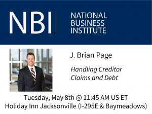 Brian Page presents at NBI's Estate Administration From Start to Finish seminar on Handling Creditor Claims and Debt