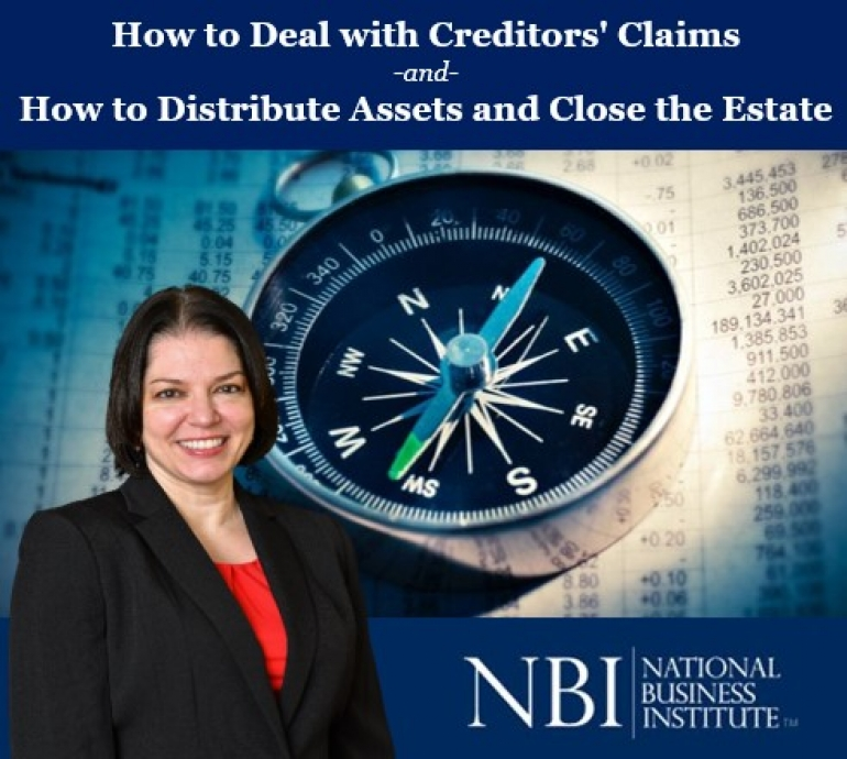"Teresa presents two of her newest seminars, ""How to Deal with Creditors' Claims"" and ""How to Distribute Assets and Close the Estate"" for the National Business Institute"