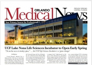 Cover page (above the fold) of the February 2018 issue of the Orlando Medical Journal
