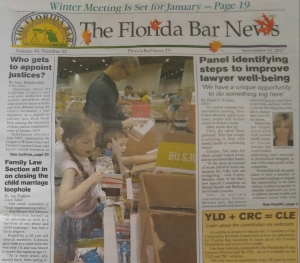 Partner Gary Forster and family on the FRONT PAGE of this month's Florida Bar News!